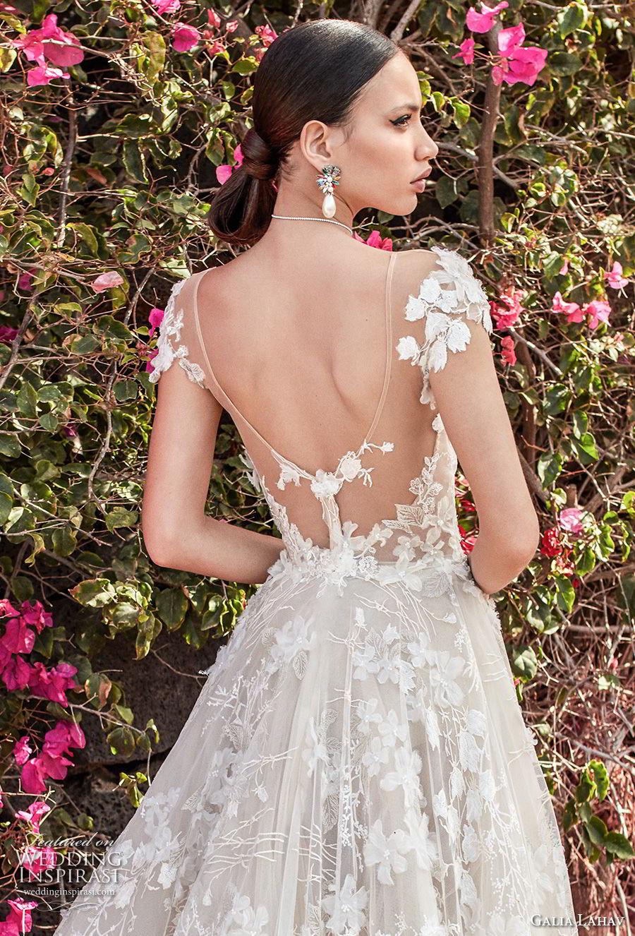 galia lahav couture fall 2018 bridal cap sleeves sweetheart neckline full embellishment elegant romantic a  line wedding dress open back chapel train (1) zbv