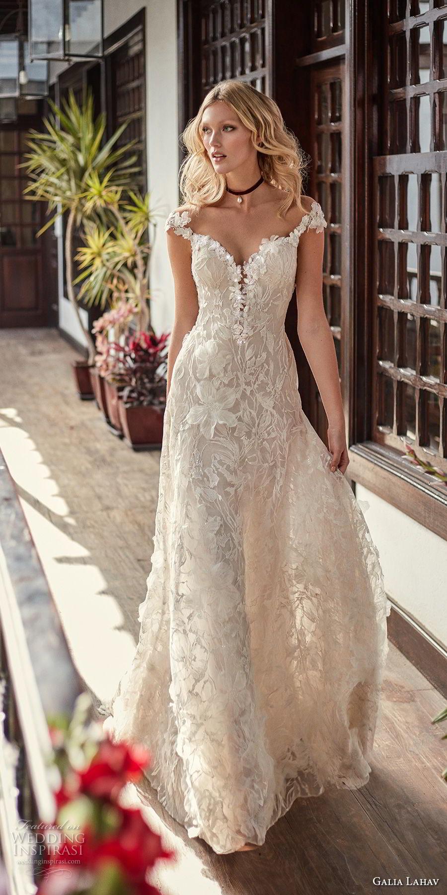 galia lahav couture fall 2018 bridal cap sleeves sweetheart neckline full embellishment elegant romantic soft a  line wedding dress low open back sweep train (17) mv