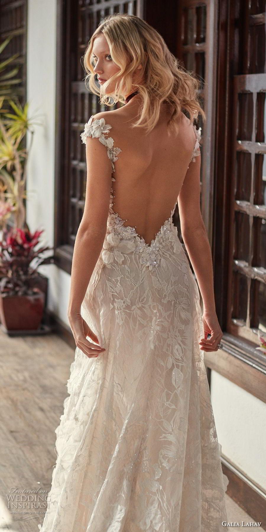 galia lahav couture fall 2018 bridal cap sleeves sweetheart neckline full embellishment elegant romantic soft a  line wedding dress low open back sweep train (17) zbv