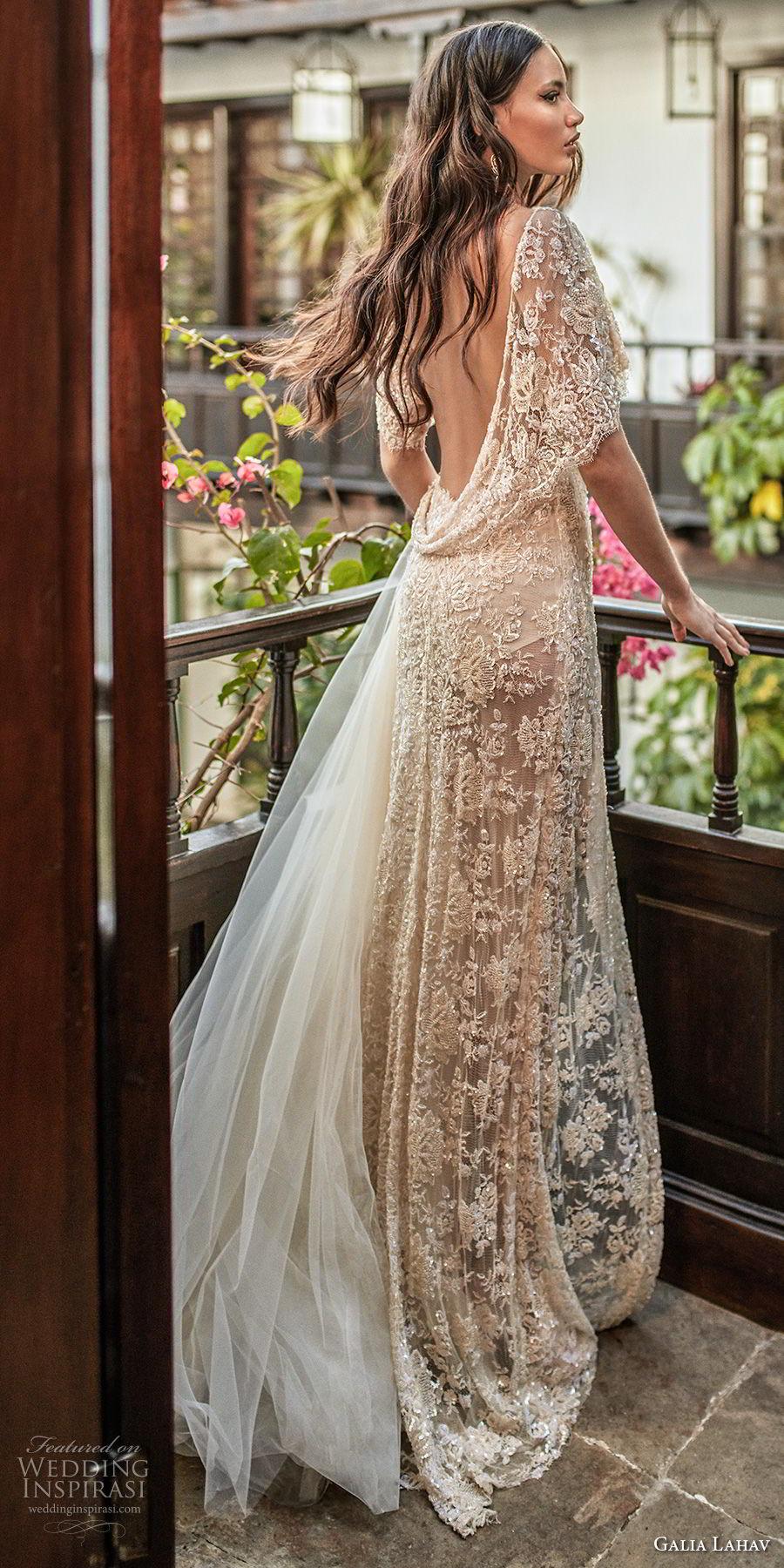 galia lahav couture fall 2018 bridal half sleeves deep v neck full embellishment high slit elegant champagne soft a  line wedding dress low open back sweep train (11) bv