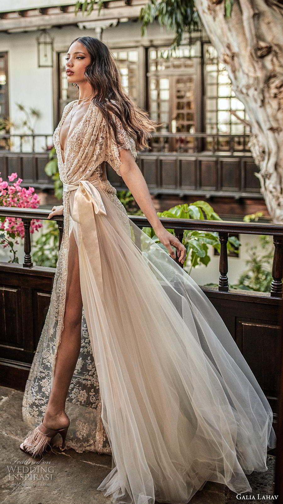 galia lahav couture fall 2018 bridal half sleeves deep v neck full embellishment high slit elegant champagne soft a  line wedding dress low open back sweep train (11) mv