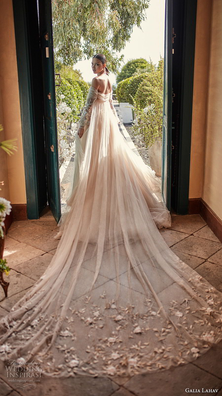 galia lahav couture fall 2018 bridal long bishop sleeves off the shoulder sweetheart neckline ruche bodice champagne romantic a  line wedding dress royal train (14) bv