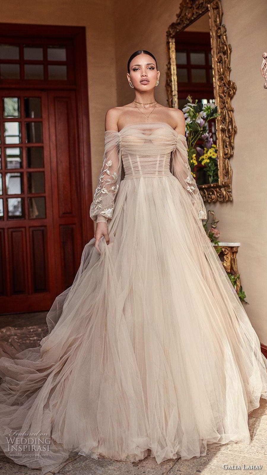 galia lahav couture fall 2018 bridal long bishop sleeves off the shoulder sweetheart neckline ruche bodice champagne romantic a  line wedding dress royal train (14) mv