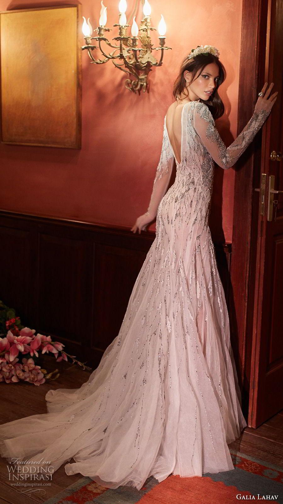 galia lahav couture fall 2018 bridal long sleeves bateau neck heavily embellished bodice elegant glamorous drop waist a  line wedding dress open v back short train (5) bv