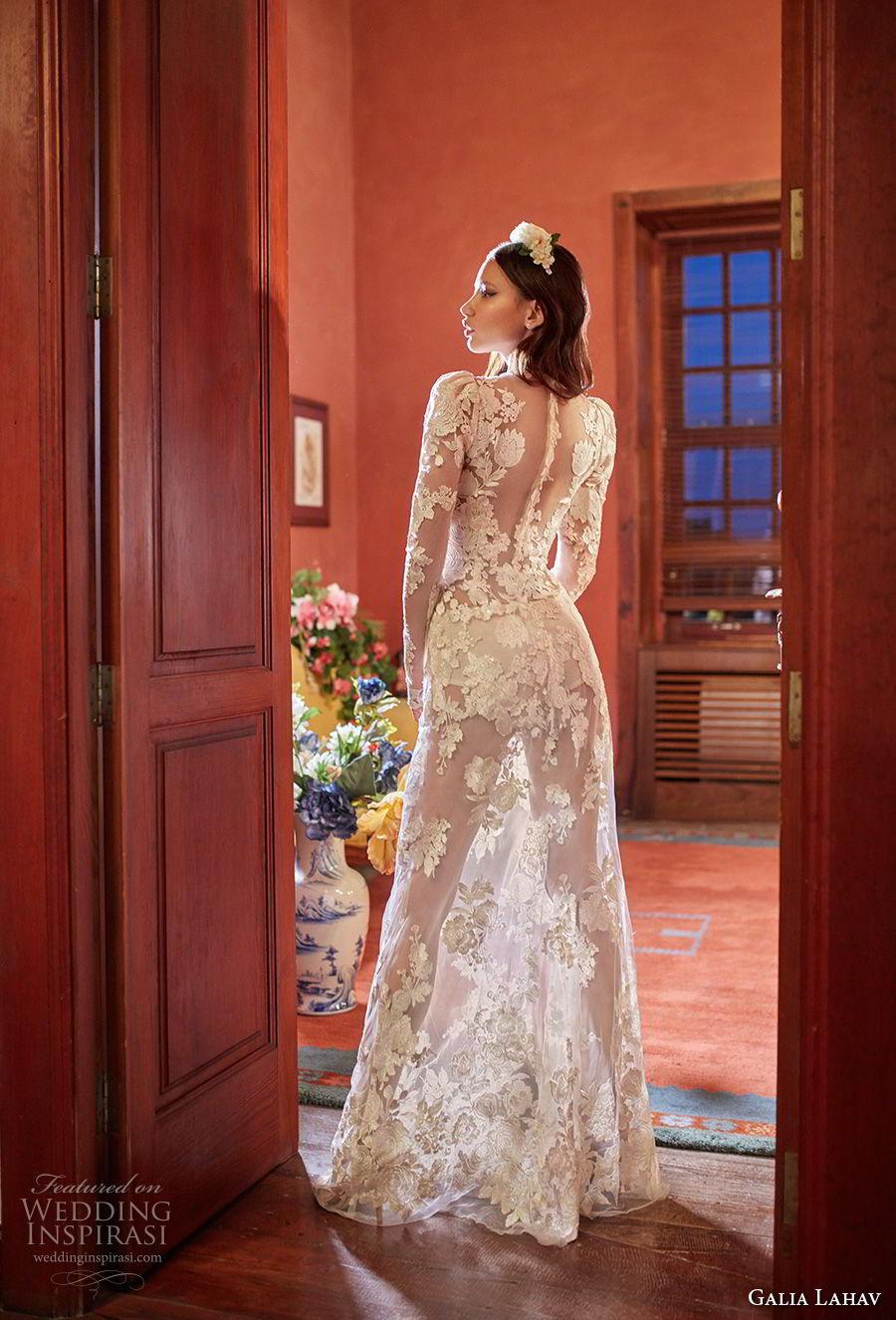 galia lahav couture fall 2018 bridal long sleeves deep v neck full embellishment sexy elegant modified a  line wedding dress sheer button back sweep train (6) bv