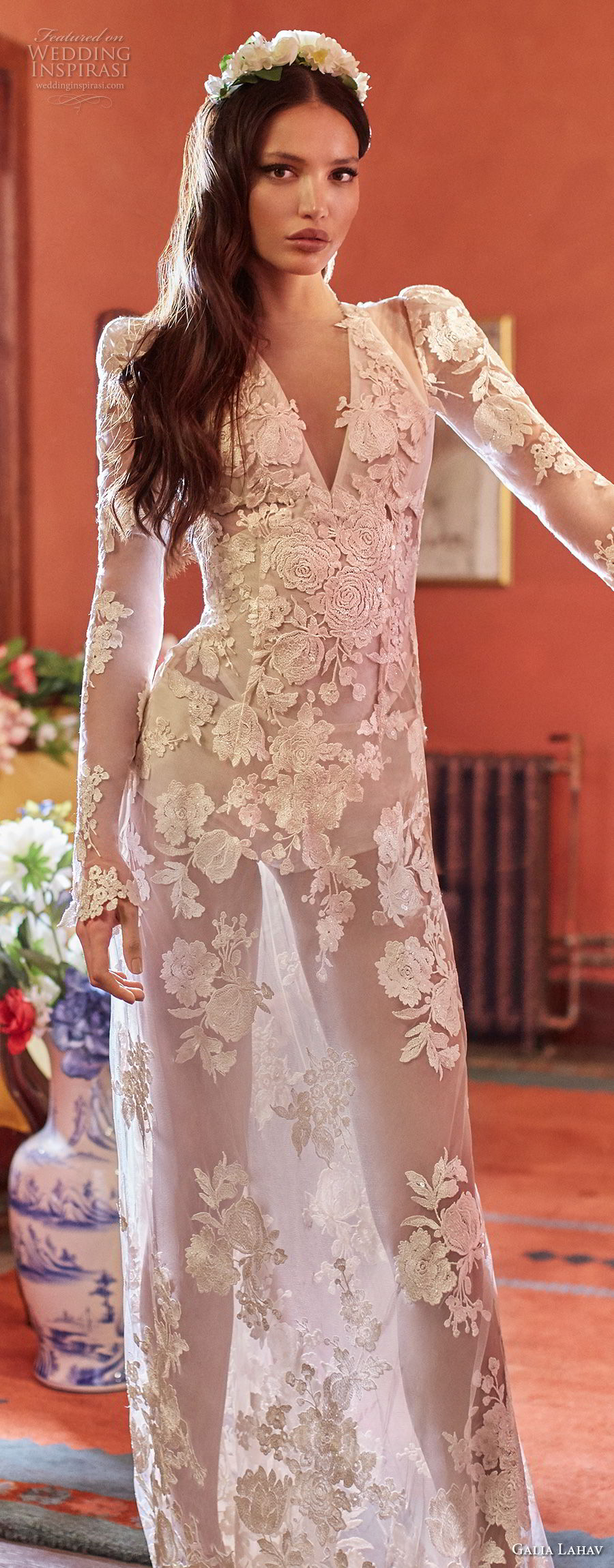 galia lahav couture fall 2018 bridal long sleeves deep v neck full embellishment sexy elegant modified a  line wedding dress sheer button back sweep train (6) lv