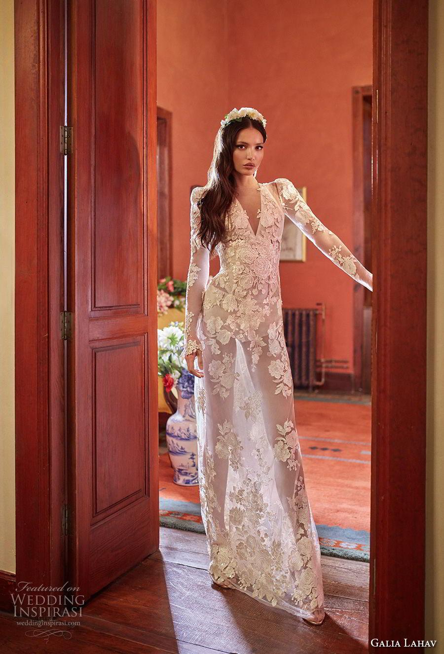 galia lahav couture fall 2018 bridal long sleeves deep v neck full embellishment sexy elegant modified a  line wedding dress sheer button back sweep train (6) mv