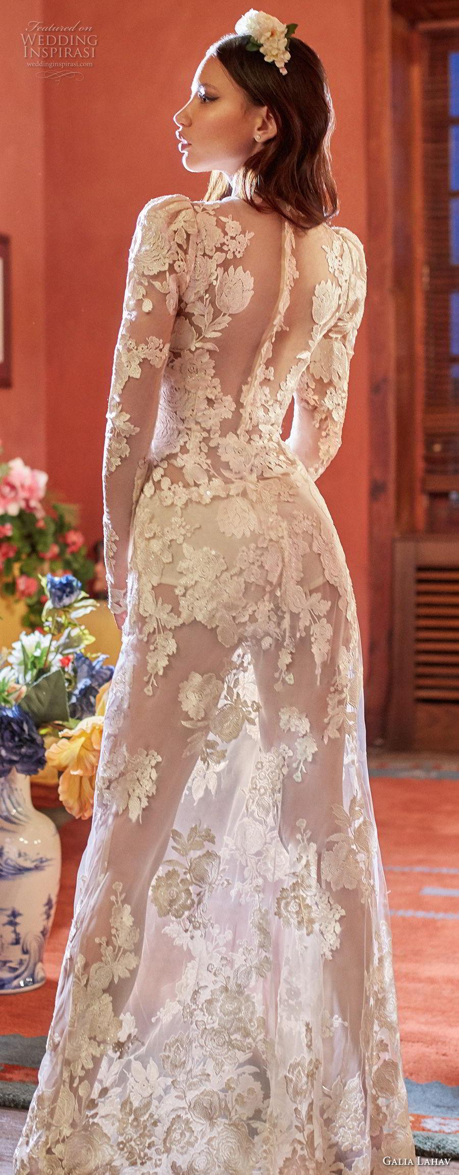 galia lahav couture fall 2018 bridal long sleeves deep v neck full embellishment sexy elegant modified a  line wedding dress sheer button back sweep train (6) zbv