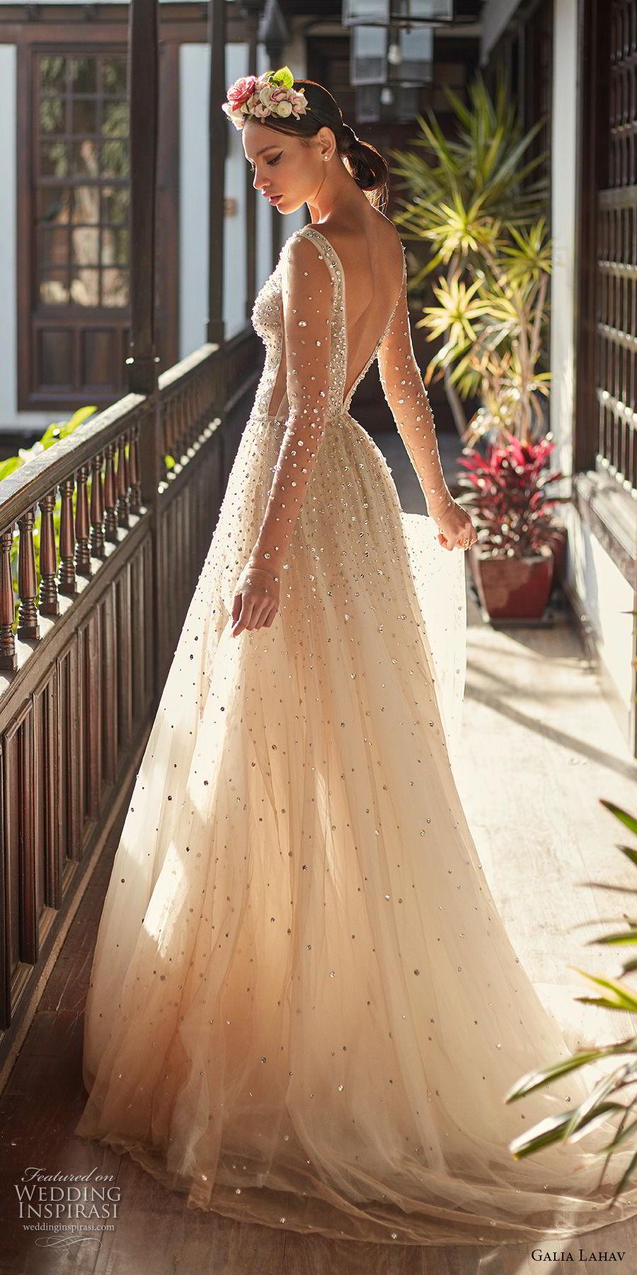 galia lahav couture fall 2018 bridal sheer long sleeves deep plunging v neck full beaded embellishment creame color romantic soft a  line wedding dress open v back chapel train (2) bv
