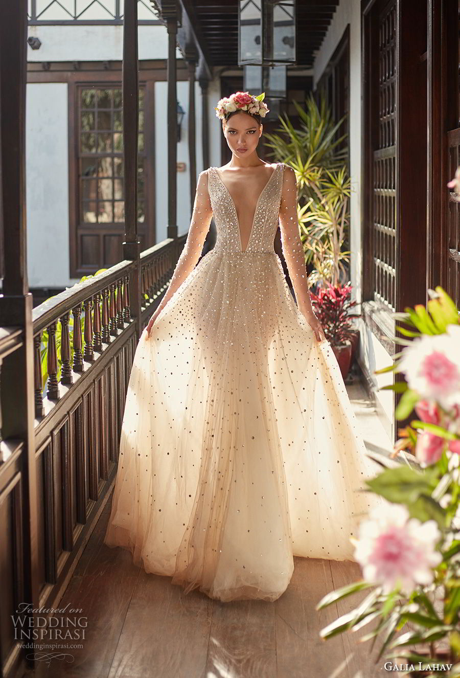 galia lahav couture fall 2018 bridal sheer long sleeves deep plunging v neck full beaded embellishment creame color romantic soft a  line wedding dress open v back chapel train (2) mv