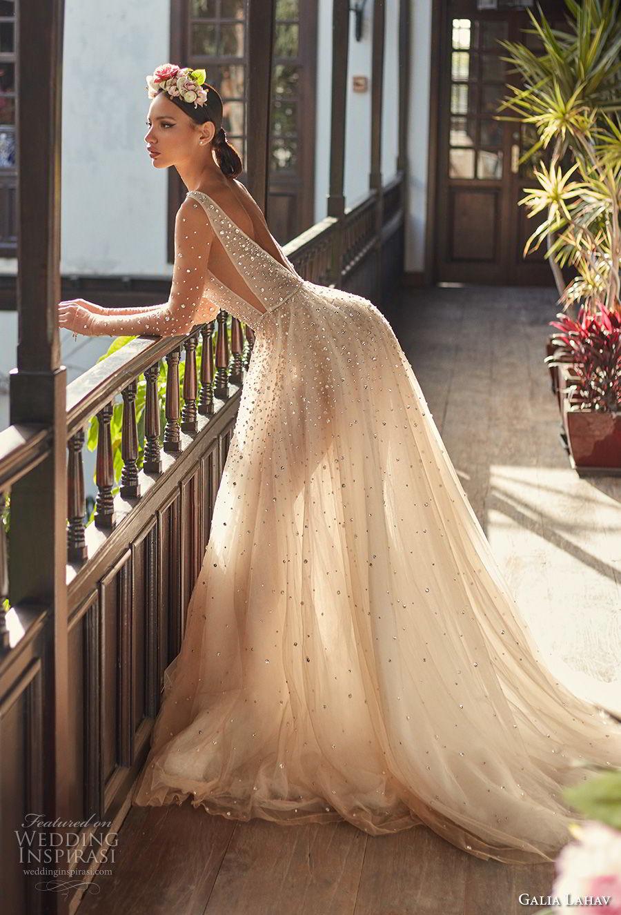 galia lahav couture fall 2018 bridal sheer long sleeves deep plunging v neck full beaded embellishment creame color romantic soft a  line wedding dress open v back chapel train (2) sdv