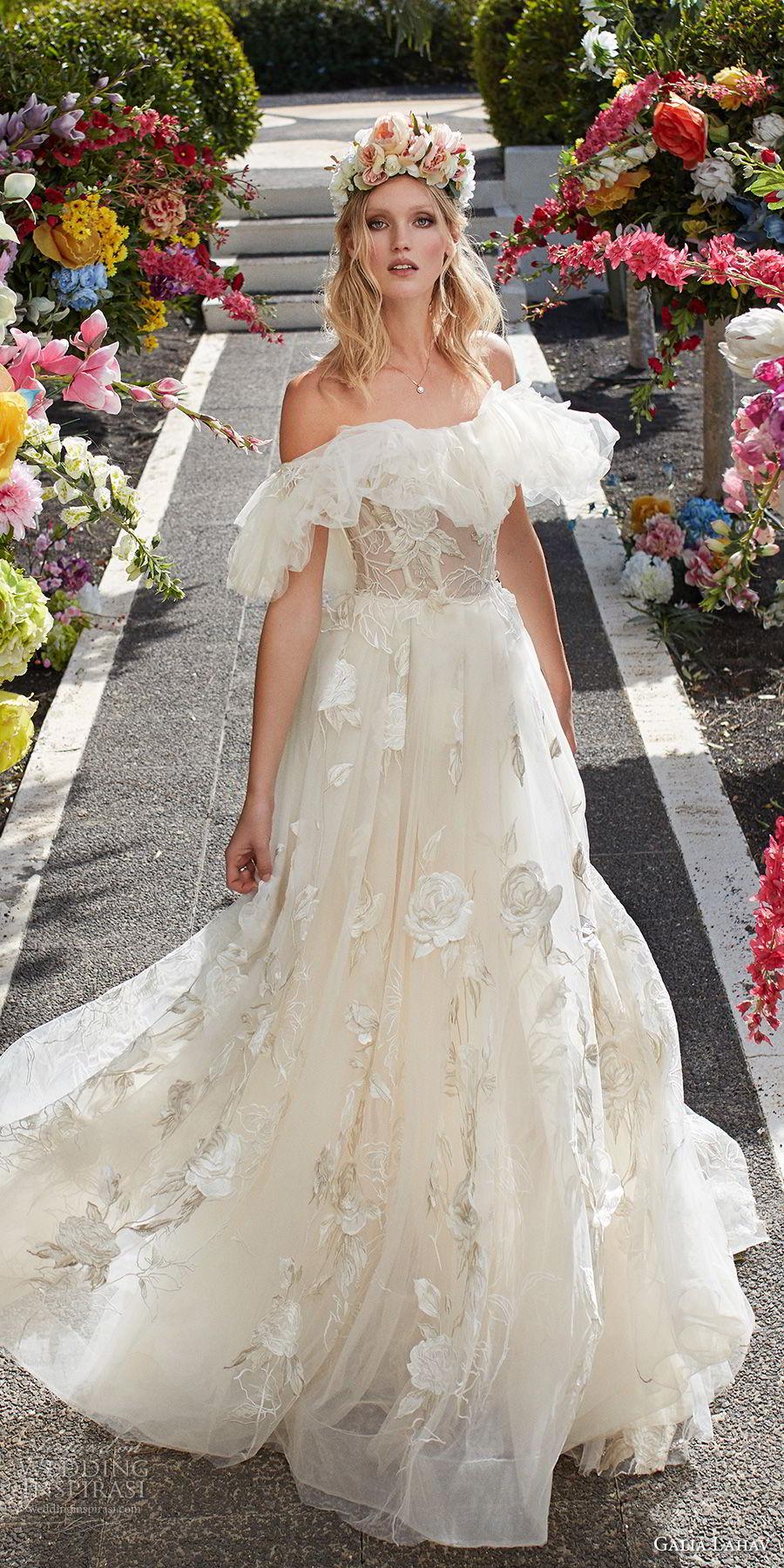 galia lahav couture fall 2018 bridal short sleeves off the shoulder full embellishment romantic princess a  line wedding dress sweep train (15) lv