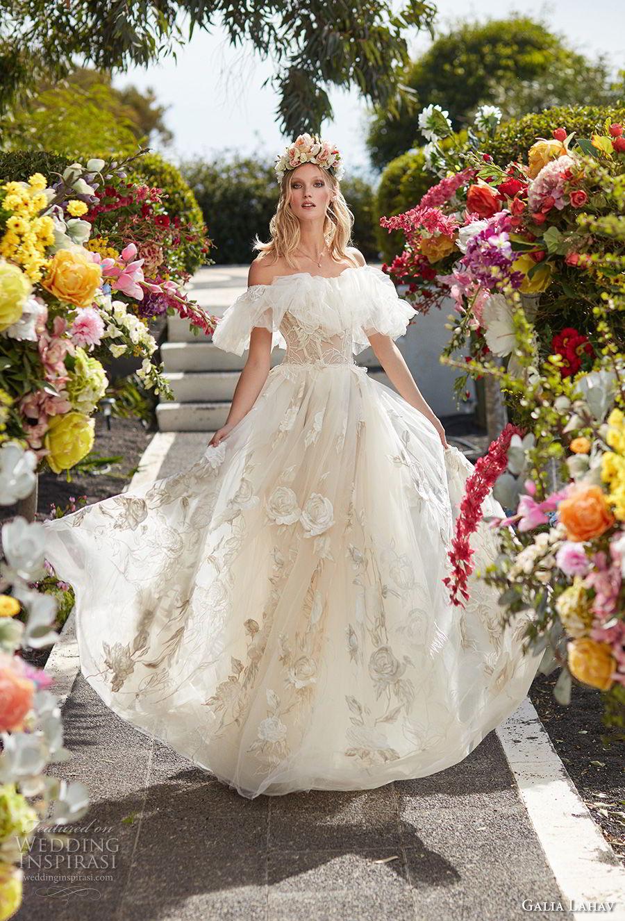 galia lahav couture fall 2018 bridal short sleeves off the shoulder full embellishment romantic princess a  line wedding dress sweep train (15) mv