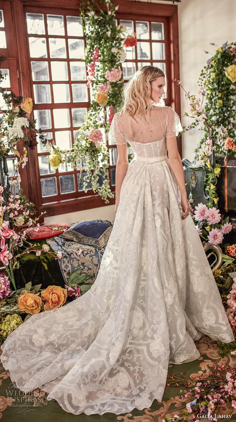 galia lahav couture fall 2018 bridal short sleeves semi sweetheart neckline full embellishment romantic a  line wedding dress medium train (18) bv