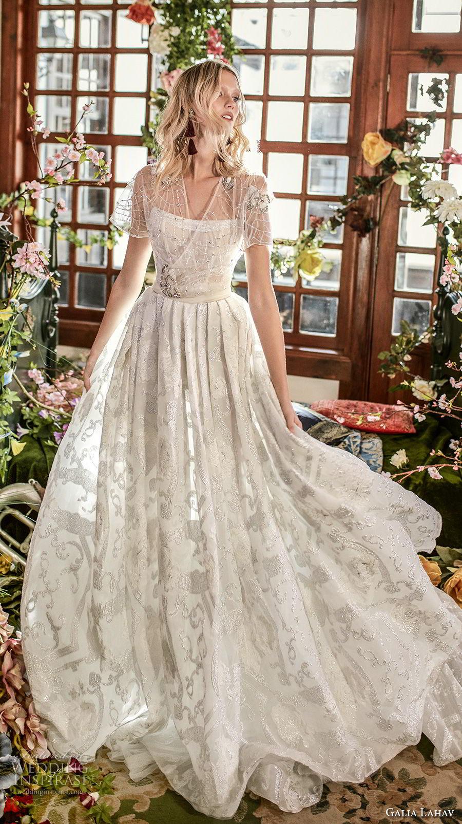 galia lahav couture fall 2018 bridal short sleeves semi sweetheart neckline full embellishment romantic a  line wedding dress medium train (18) mv