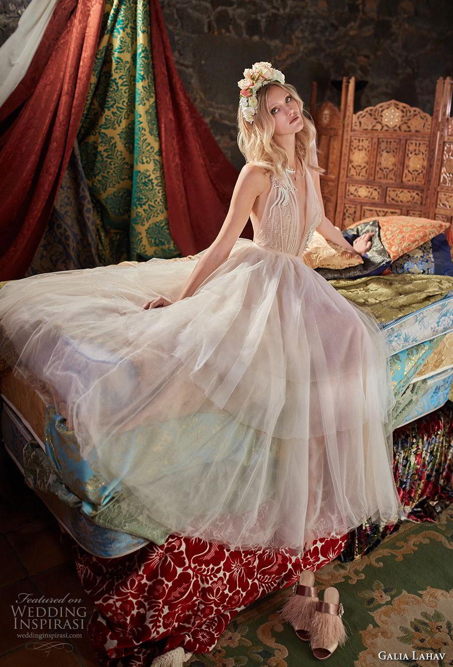 galia lahav couture fall 2018 bridal sleeveless deep plunging v neck lightly embellished bodice multicolor pastel pink romantic a  line wedding dress (3) mv