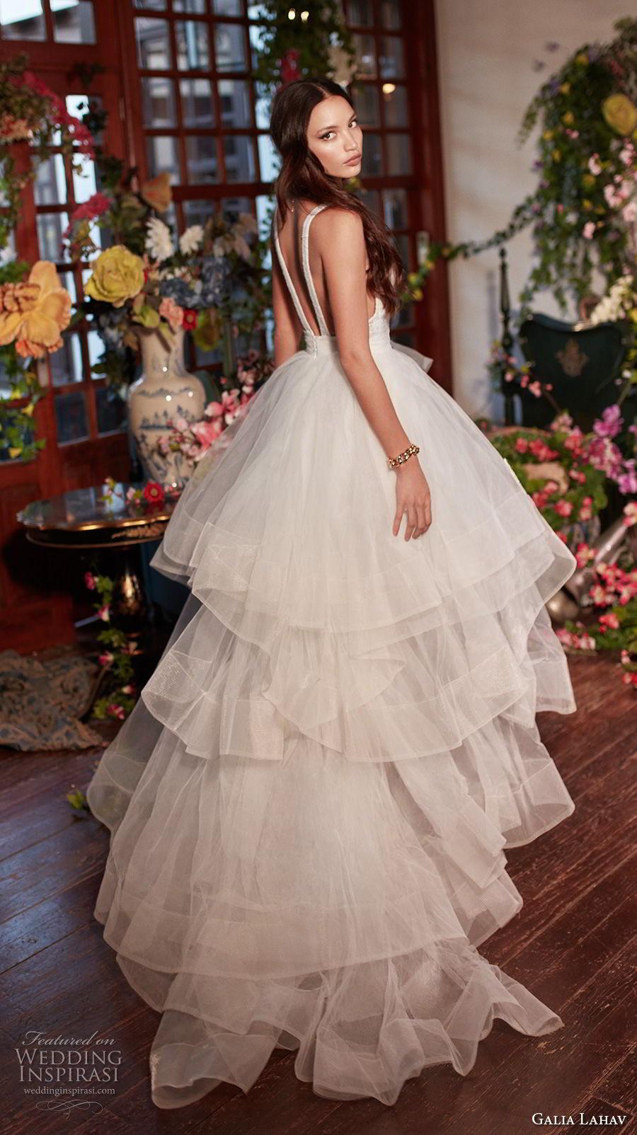 galia lahav couture fall 2018 bridal sleeveless deep v neck heavily embellished bodice tulle layered skirt sexy romantic a  line wedding dress open back medium train (8) bv