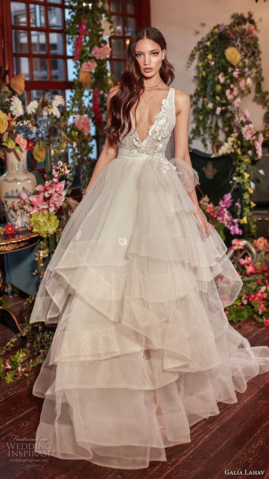 galia lahav couture fall 2018 bridal sleeveless deep v neck heavily embellished bodice tulle layered skirt sexy romantic a  line wedding dress open back medium train (8) mv