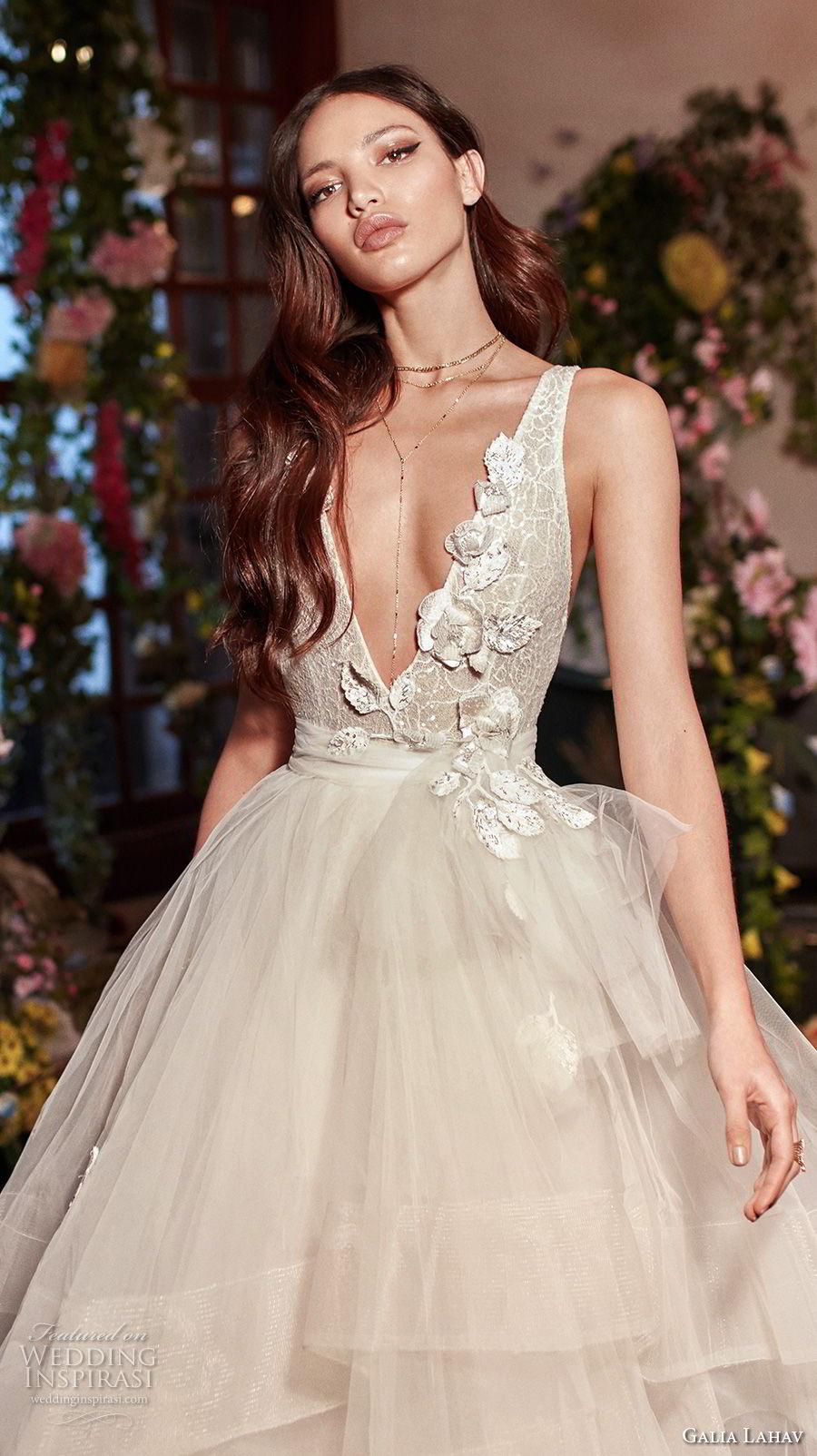 galia lahav couture fall 2018 bridal sleeveless deep v neck heavily embellished bodice tulle layered skirt sexy romantic a  line wedding dress open back medium train (8) zv