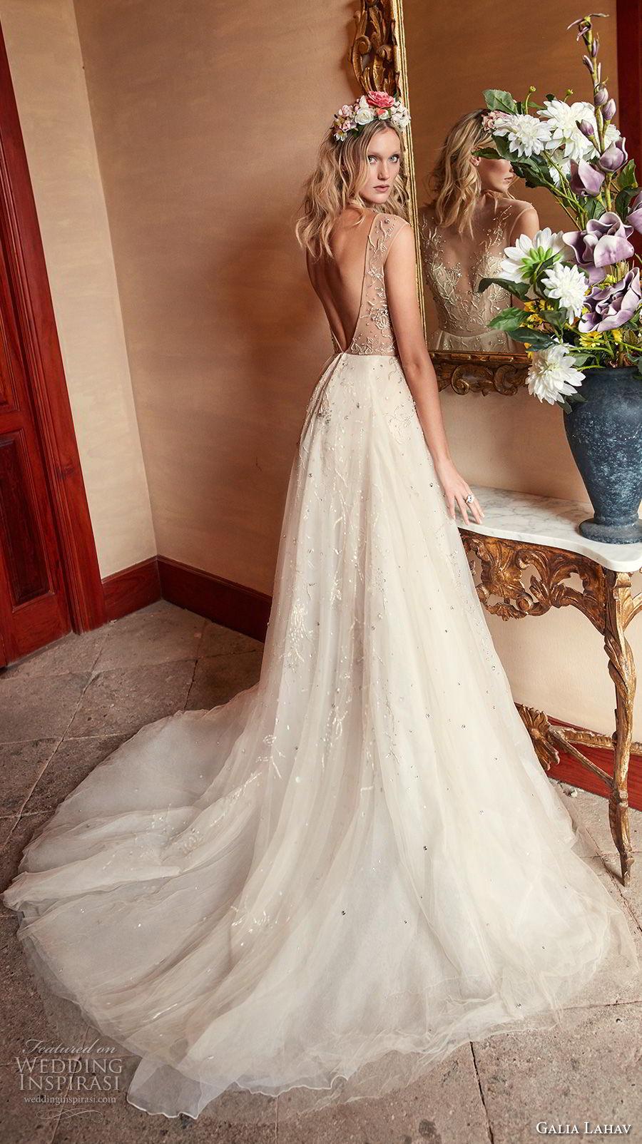 galia lahav couture fall 2018 bridal sleeveless deep v sweetheart necklne heavily embellished bodice champagne romantic soft a  line wedding dress open v back chapel (13) bv