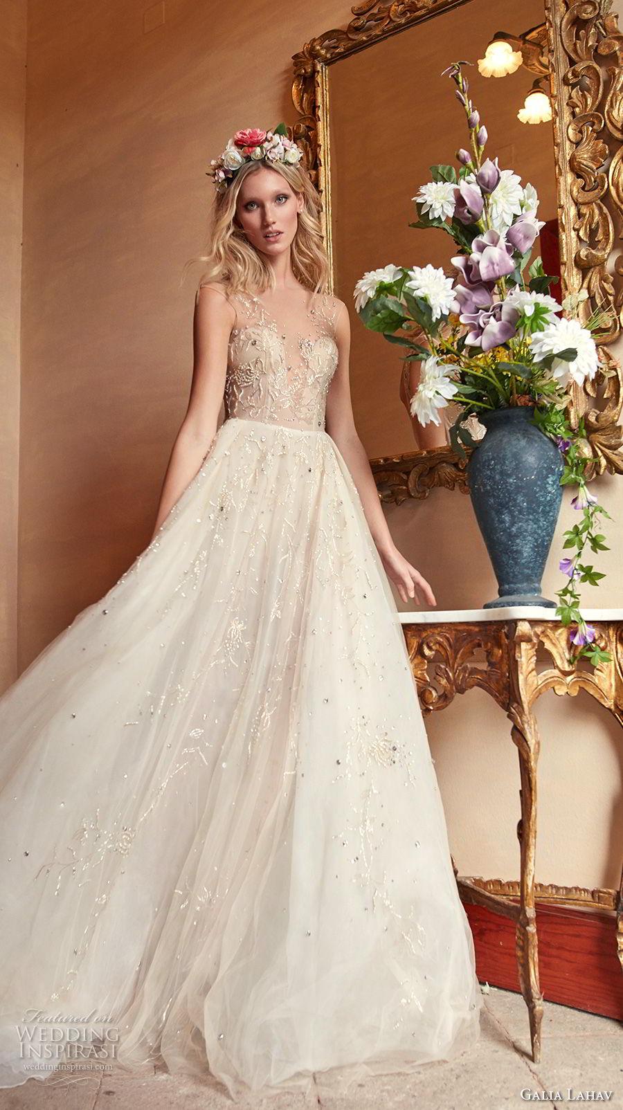 galia lahav couture fall 2018 bridal sleeveless deep v sweetheart necklne heavily embellished bodice champagne romantic soft a  line wedding dress open v back chapel (13) mv