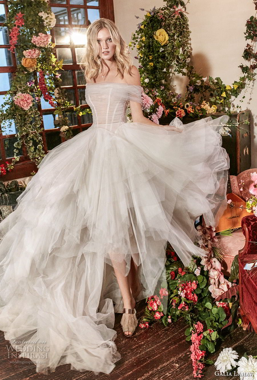 galia lahav couture fall 2018 bridal strapless off the shouder ruched bodice tulle layered skirt romantic a  line wedding dress chapel train (7) mv