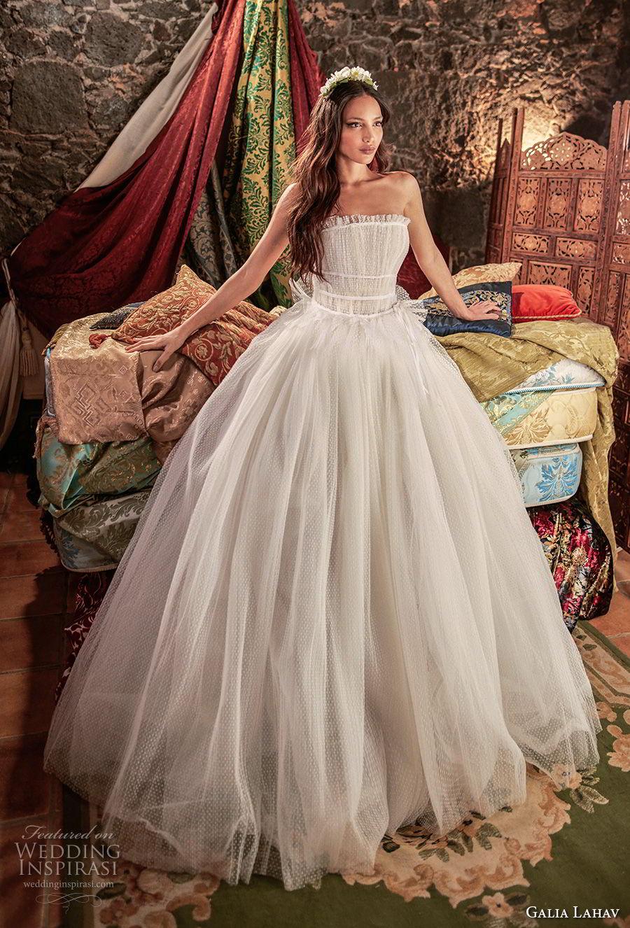 galia lahav couture fall 2018 bridal strapless straight across neckline light embellishment romantic ball gown a  line wedding dress (4) mv