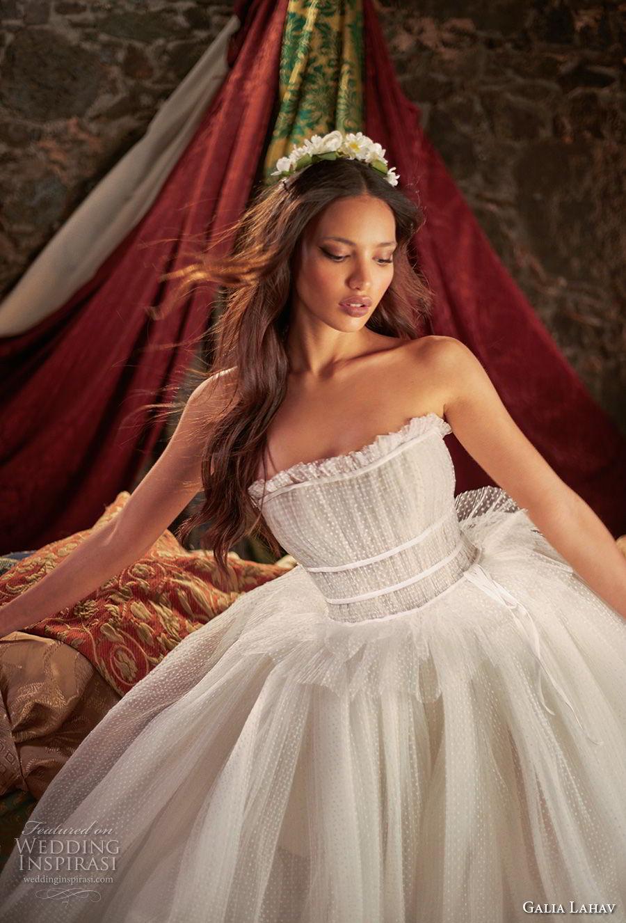 galia lahav couture fall 2018 bridal strapless straight across neckline light embellishment romantic ball gown a  line wedding dress (4) zv