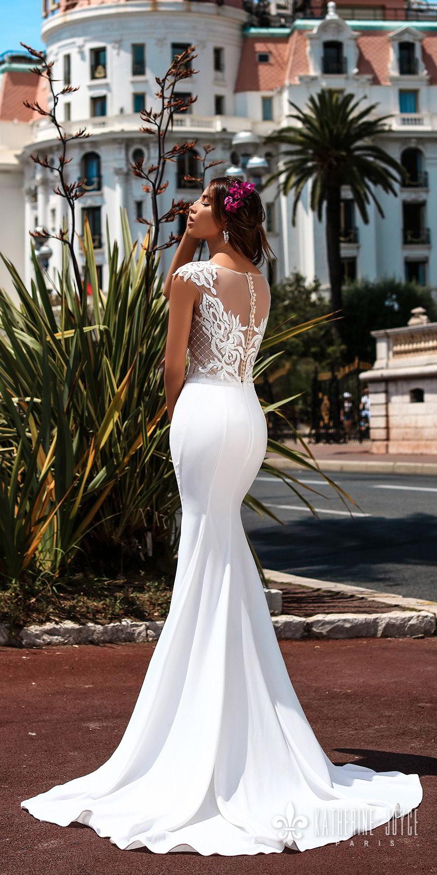 katherine joyce 2018 bridal cap sleeves illusion bateau sweetheart neckline heavily embellished bodice elegant fit and flare wedding dress sheer lace back sweep train (gracia) bv