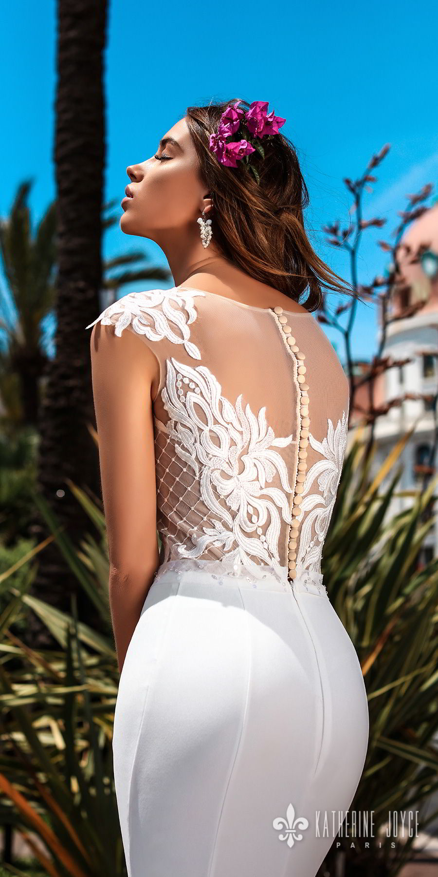 katherine joyce 2018 bridal cap sleeves illusion bateau sweetheart neckline heavily embellished bodice elegant fit and flare wedding dress sheer lace back sweep train (gracia) zbv