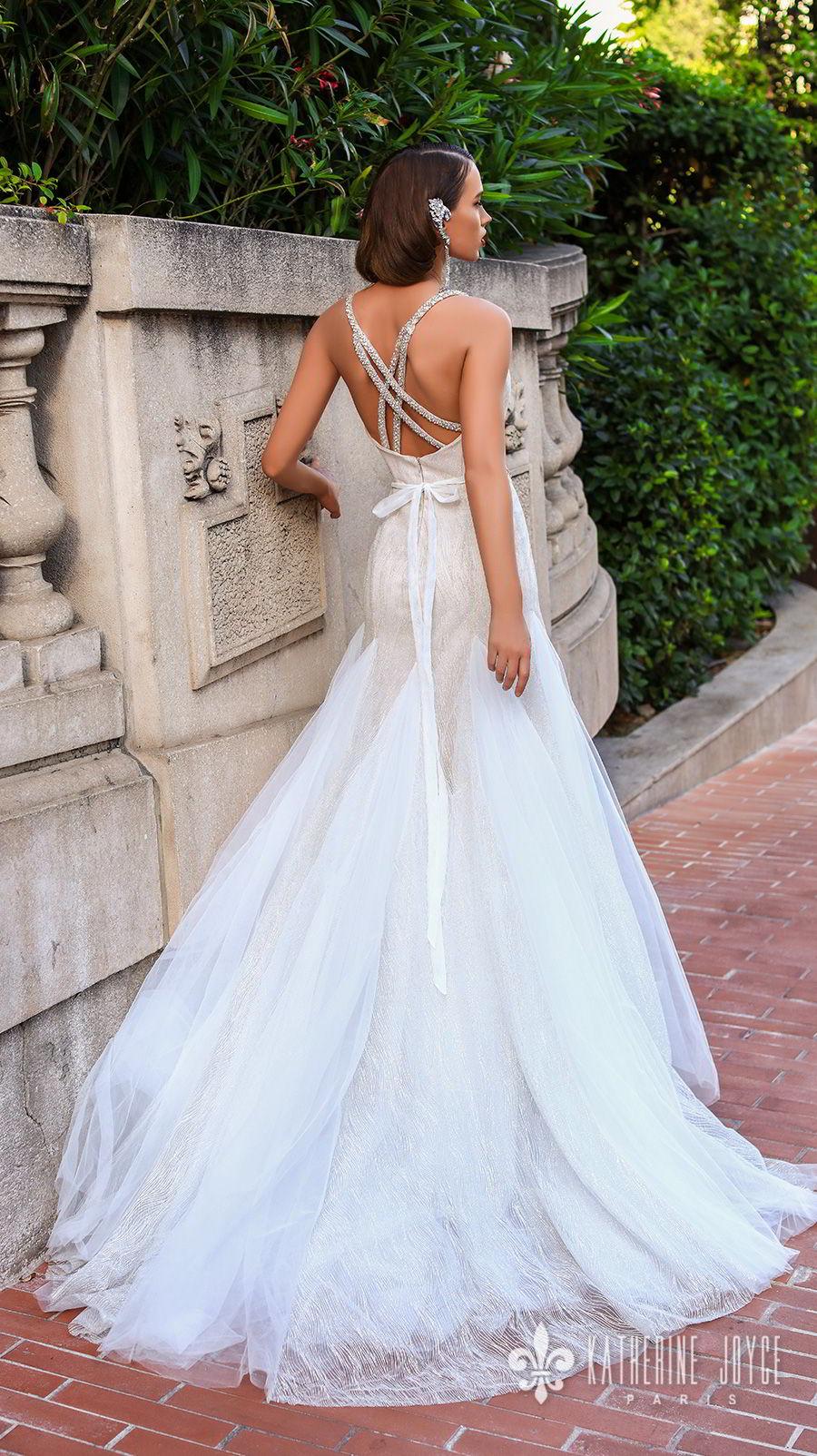 katherine joyce 2018 bridal double strap sweetheart neckline full embellishment elegant a  line wedding dress cross trap back chapel train (rebeca) bv