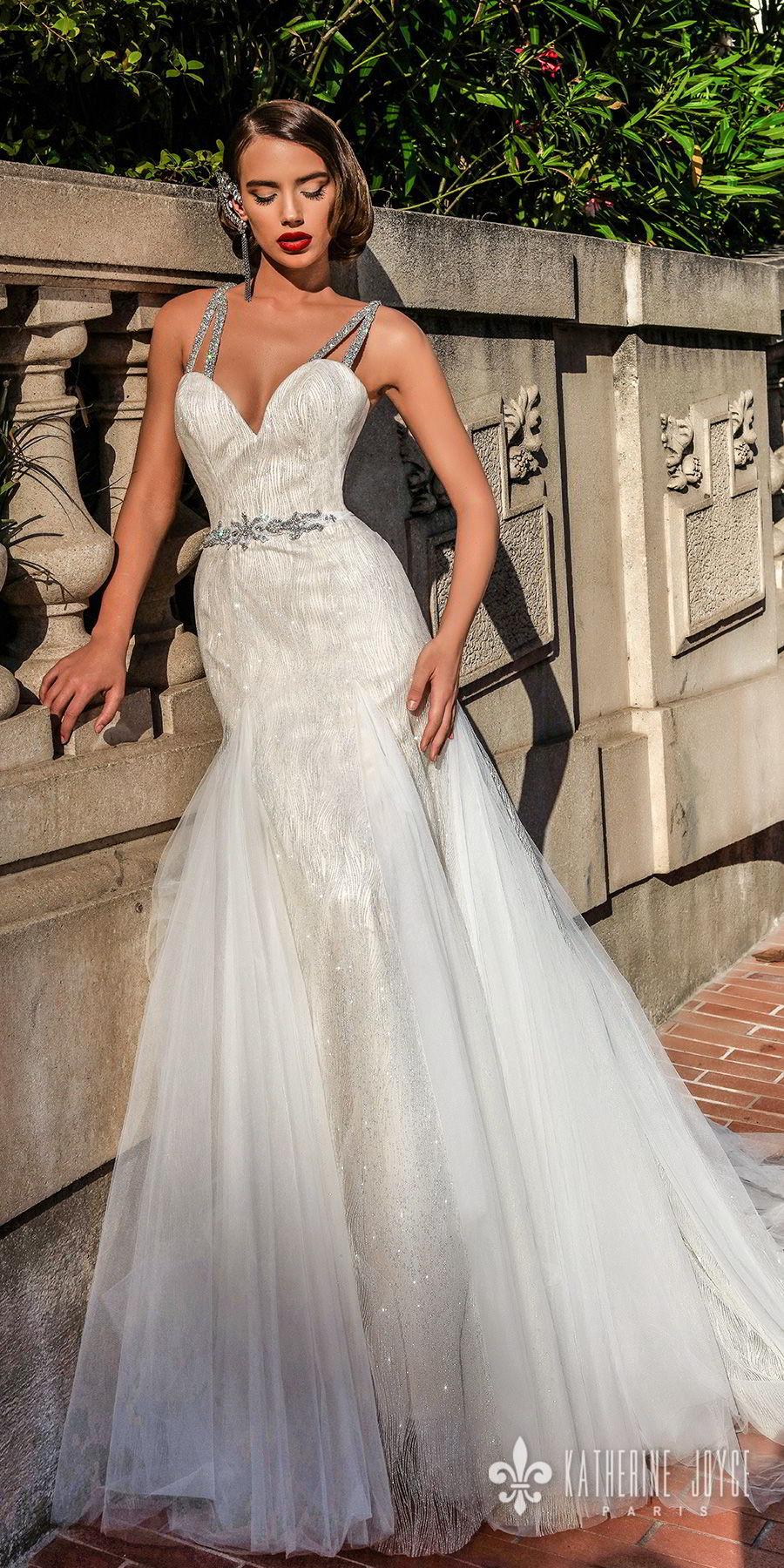 katherine joyce 2018 bridal double strap sweetheart neckline full embellishment elegant a  line wedding dress cross trap back chapel train (rebeca) mv