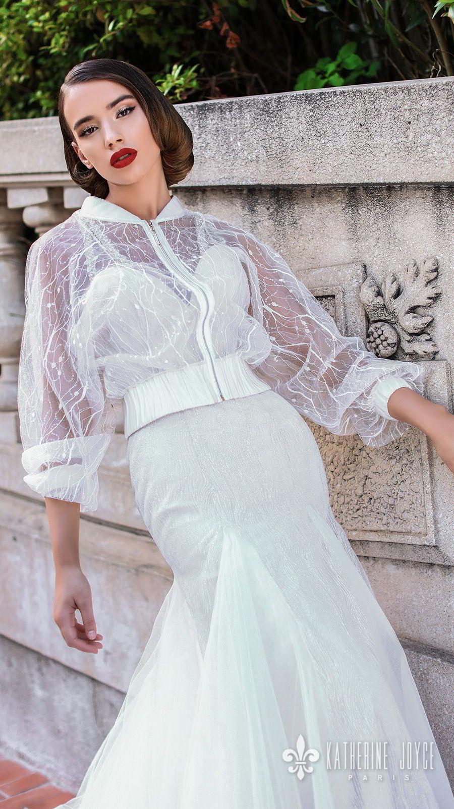 katherine joyce 2018 bridal long bishop sleeves double strap sweetheart neckline full embellishment elegant a  line wedding dress jacket cross trap back chapel train (rebeca) zv