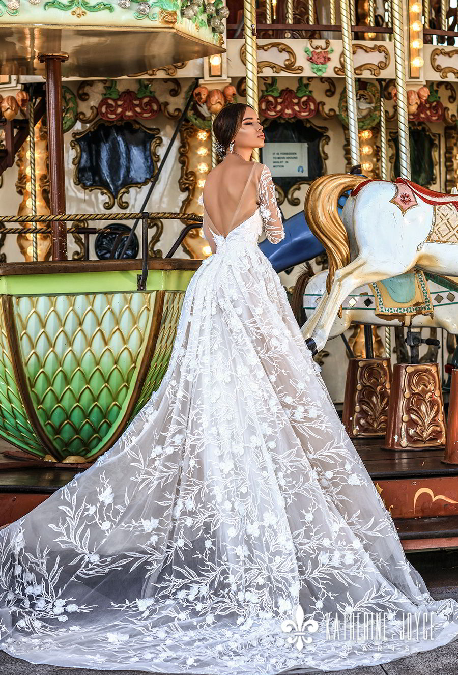 katherine joyce 2018 bridal long sleeves illusion bateau sweetheart neckline full embellishment romantic a  line wedding dress open v back chapel train (ofelia) bv