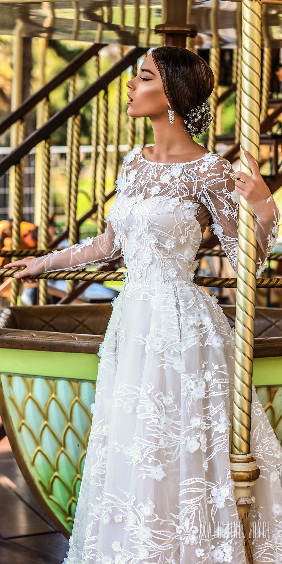 katherine joyce 2018 bridal long sleeves illusion bateau sweetheart neckline full embellishment romantic a  line wedding dress open v back chapel train (ofelia) zv