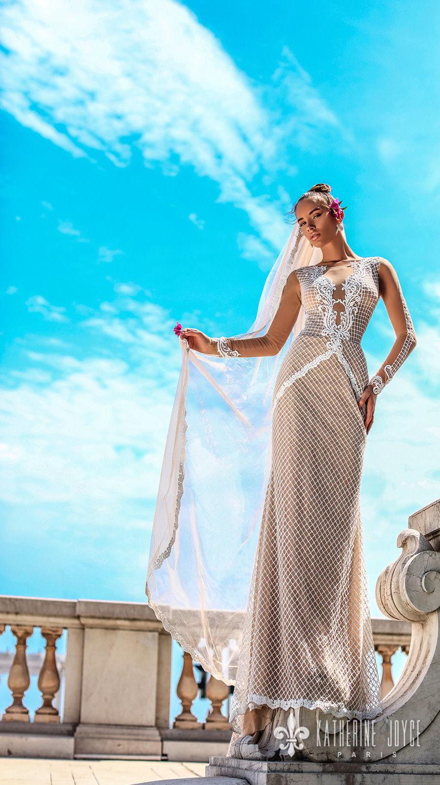 katherine joyce 2018 bridal long sleeves illusion boat deep plunging v neck full embellishment elegant fit and flare wedding dress sheer lace back sweep train (vidia) mv