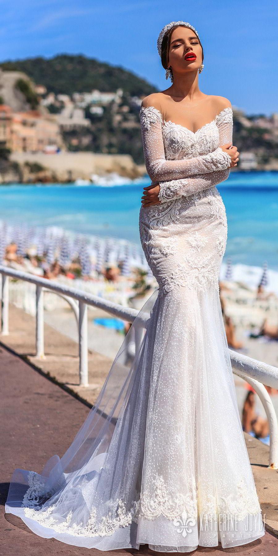 katherine joyce 2018 bridal long sleeves illusion jewel sweetheart neckline full embellishment elegant mermaid wedding dress keyhole back sweep train (valencia) mv