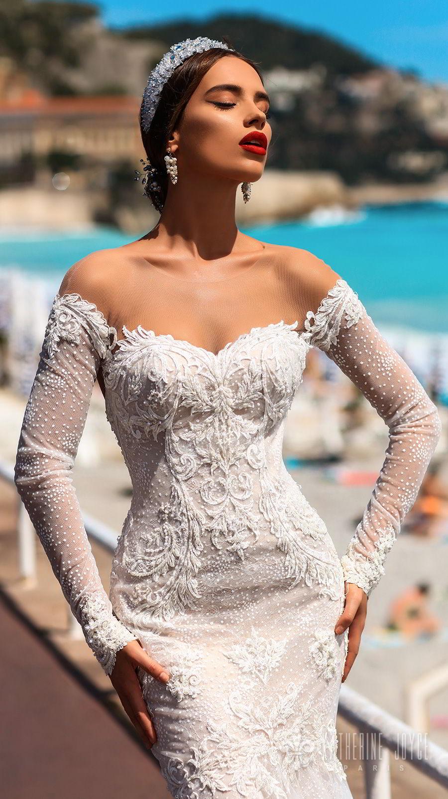 katherine joyce 2018 bridal long sleeves illusion jewel sweetheart neckline full embellishment elegant mermaid wedding dress keyhole back sweep train (valencia) zv