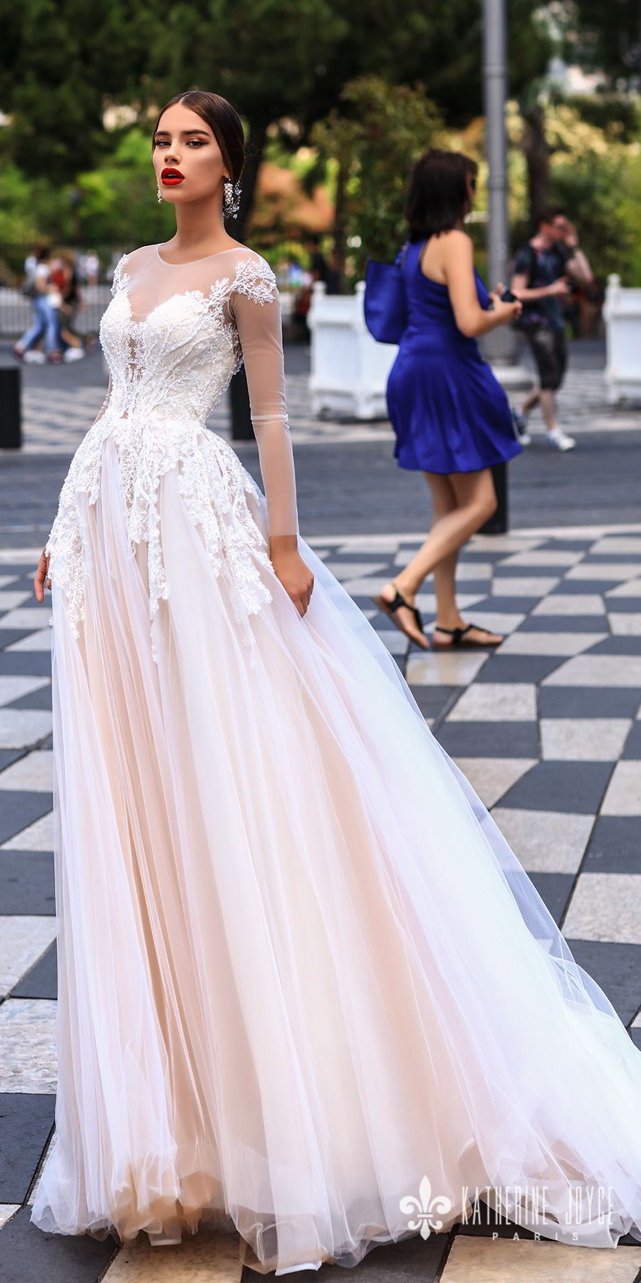 katherine joyce 2018 bridal long sleeves sheer jewel neck sweetheart neckline heavily embellished bodice tulle skirt romantic blush a  line wedding dress sheer back chapel train (dolores) mv