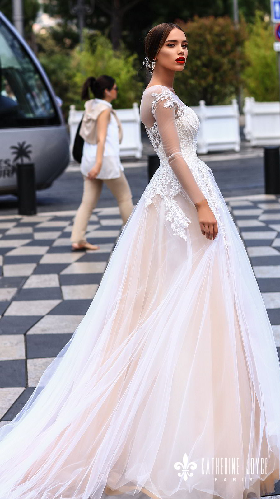 katherine joyce 2018 bridal long sleeves sheer jewel neck sweetheart neckline heavily embellished bodice tulle skirt romantic blush a  line wedding dress sheer back chapel train (dolores) sdv
