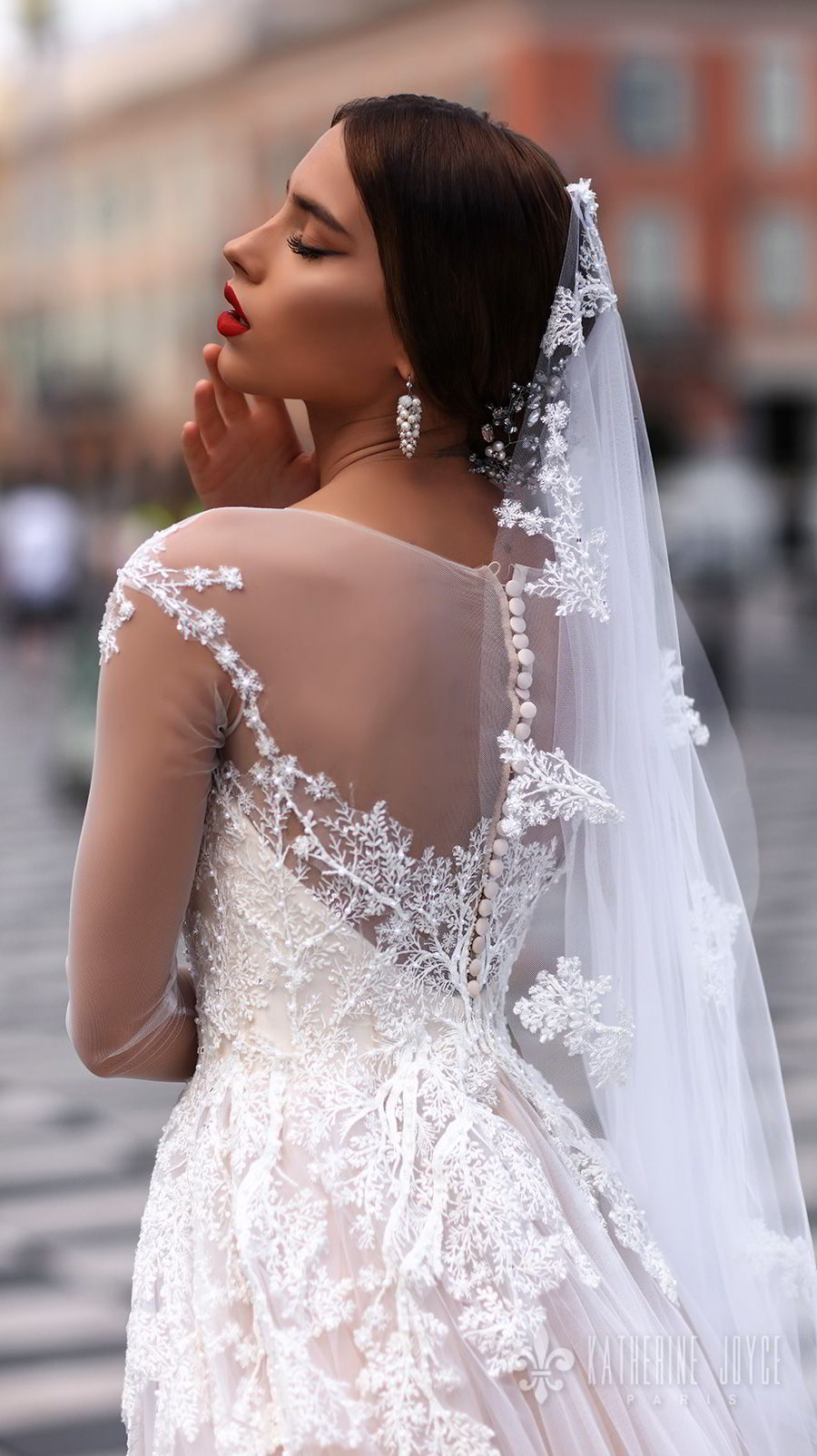 katherine joyce 2018 bridal long sleeves sheer jewel neck sweetheart neckline heavily embellished bodice tulle skirt romantic blush a  line wedding dress sheer back chapel train (dolores) zbv