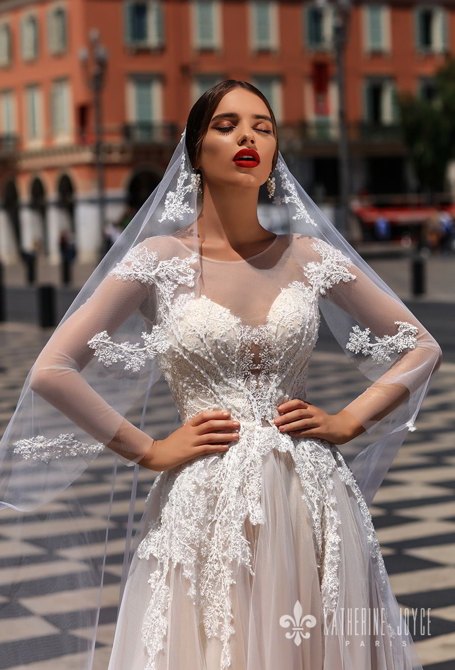 katherine joyce 2018 bridal long sleeves sheer jewel neck sweetheart neckline heavily embellished bodice tulle skirt romantic blush a  line wedding dress sheer back chapel train (dolores) zv