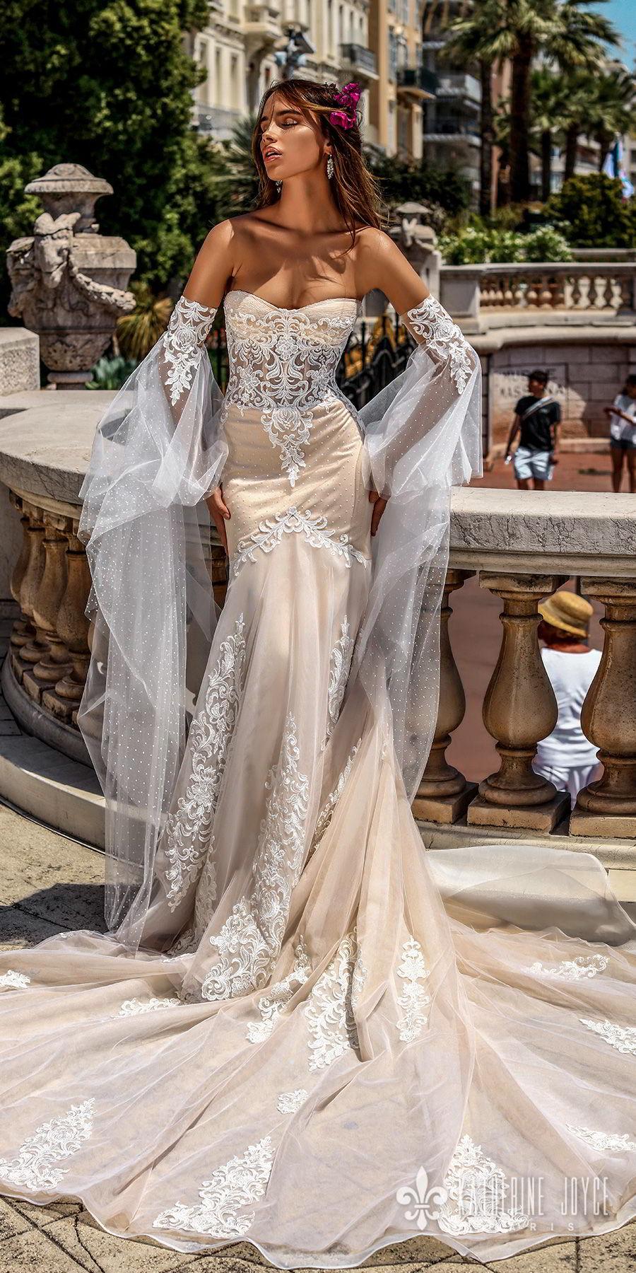 katherine joyce 2018 bridal long sleeves strapless sweetheart neckline heavily embellished bodice elegant sexy ivory fit and flare wedding dress chapel train (leticia) mv