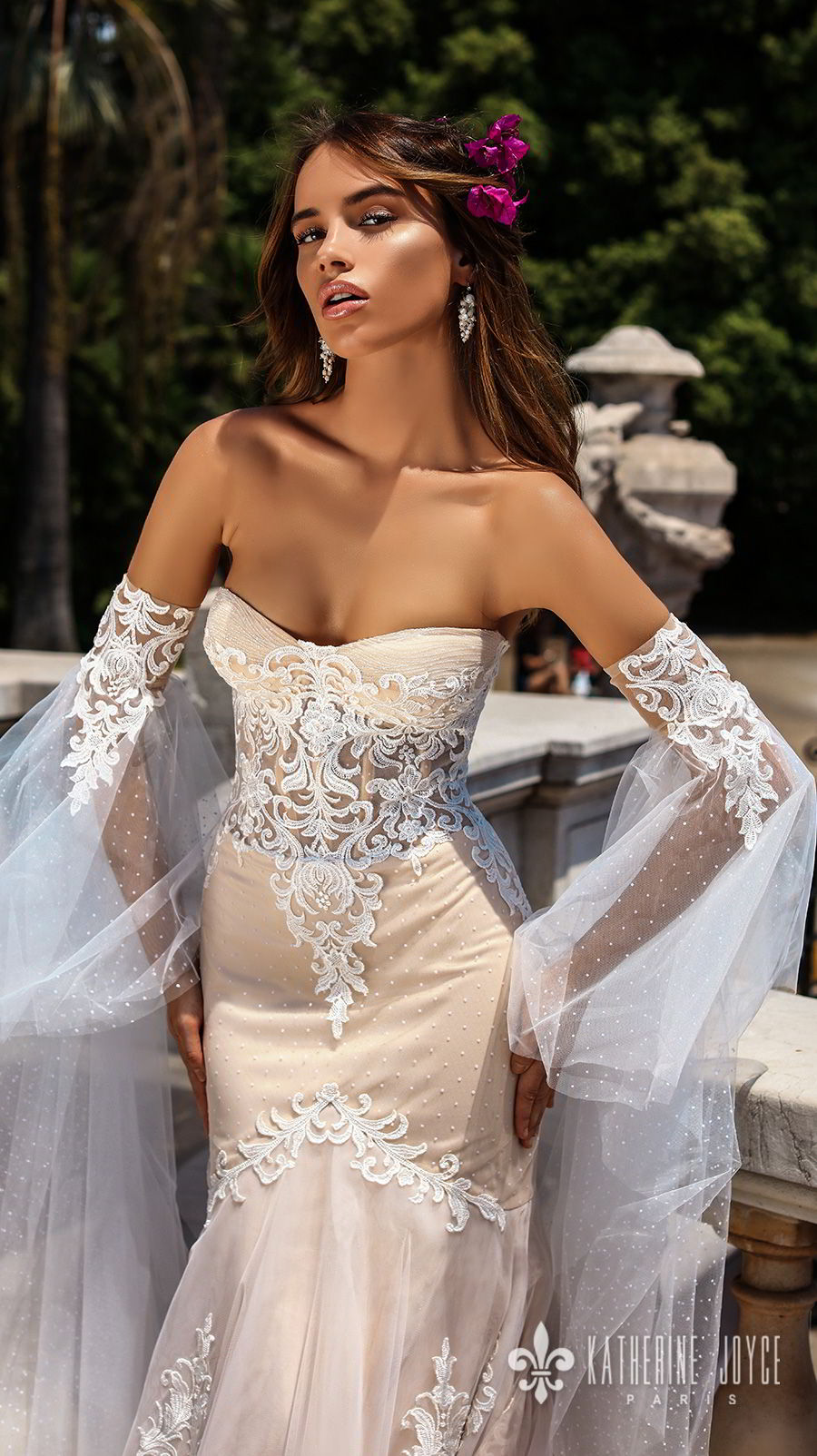 katherine joyce 2018 bridal long sleeves strapless sweetheart neckline heavily embellished bodice elegant sexy ivory fit and flare wedding dress chapel train (leticia) zv