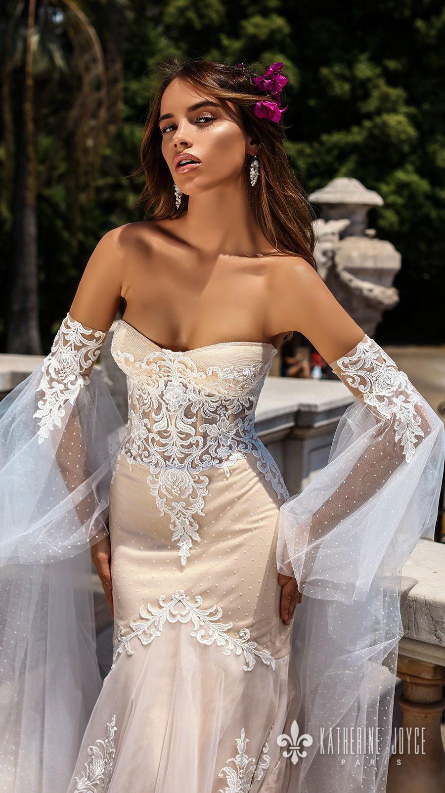 katherine joyce 2018 bridal long sleeves strapless sweetheart neckline heavily embellished bodice elegant sexy ivory fit and flare wedding dress chapel train (leticia) zv