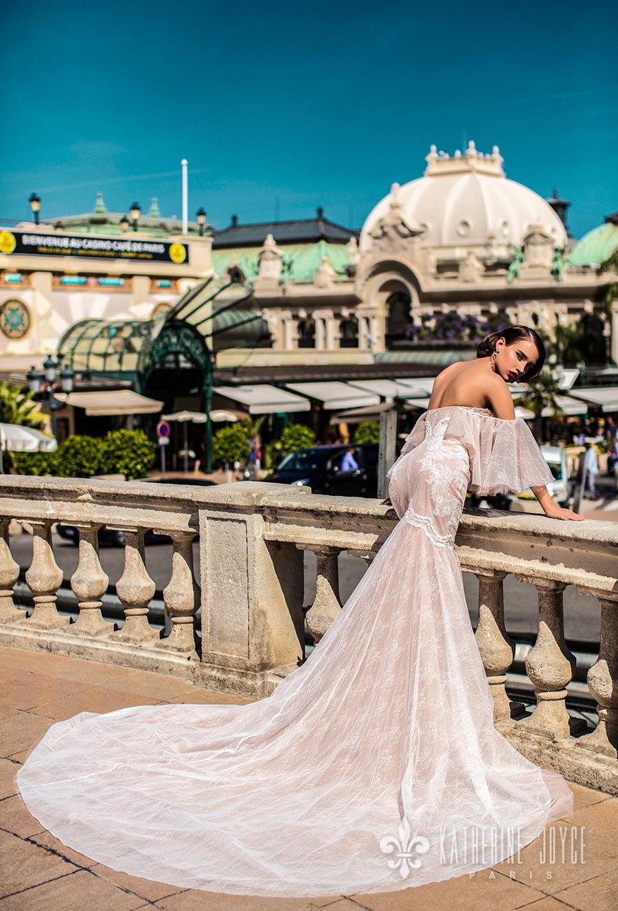 katherine joyce 2018 bridal off the shoulder funnel sleeves strapless sweetheart neckline heavily embellished bodice elegant sexy mermaid wedding dress chapel train (bonita) bv