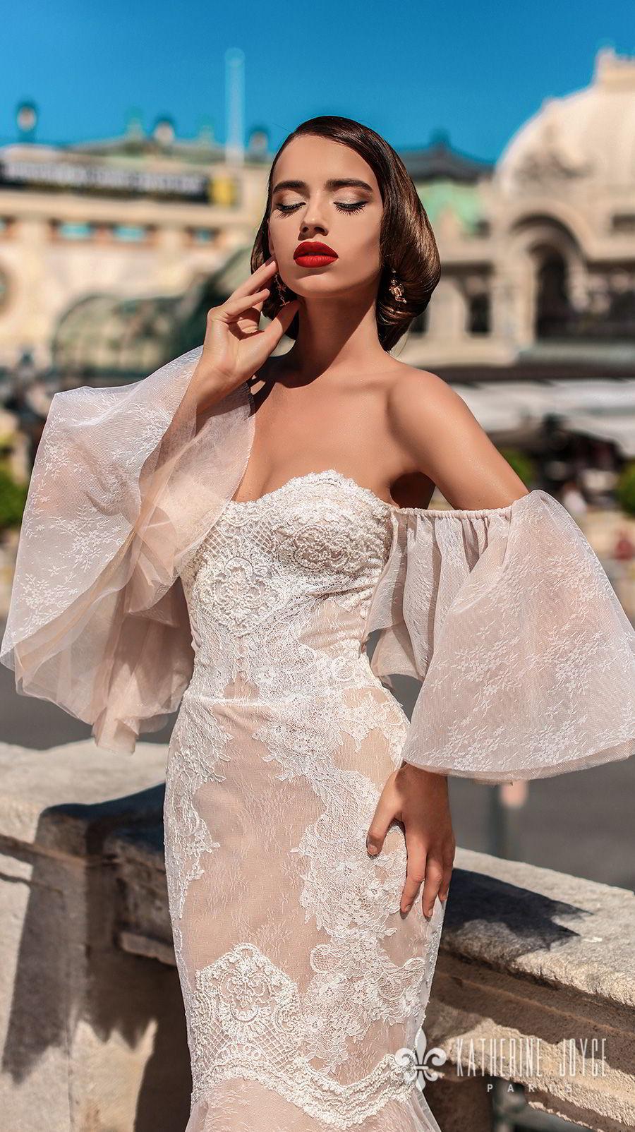 katherine joyce 2018 bridal off the shoulder funnel sleeves strapless sweetheart neckline heavily embellished bodice elegant sexy mermaid wedding dress chapel train (bonita) zv