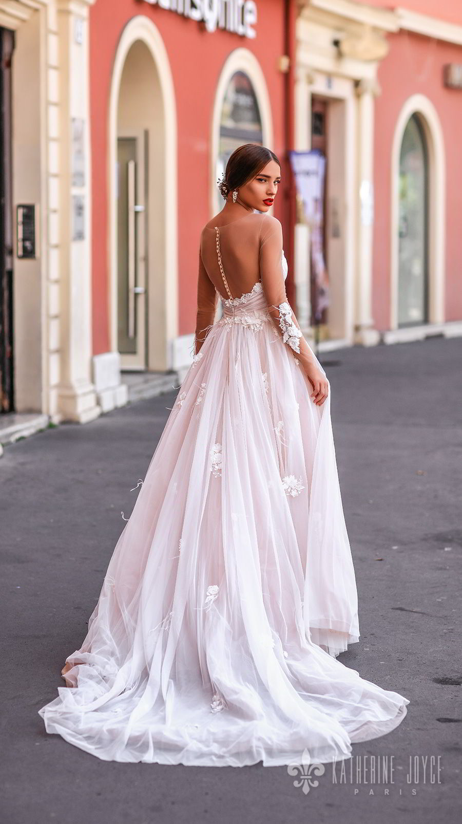 katherine joyce 2018 bridal sheer long sleeves illusion bateau strapless sweetheart neckline heavily embellished bodice romantic pink a  line wedding dress chapel train (catalina) bv