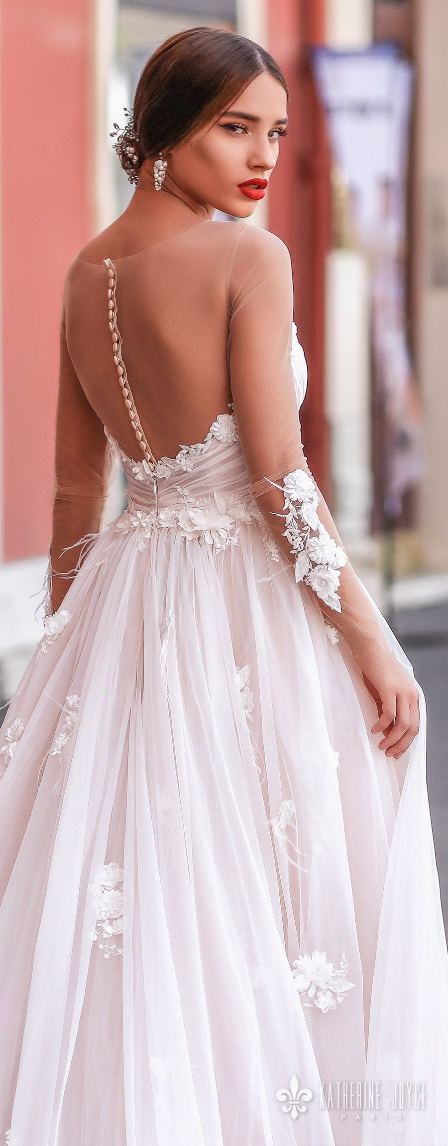 katherine joyce 2018 bridal sheer long sleeves illusion bateau strapless sweetheart neckline heavily embellished bodice romantic pink a  line wedding dress chapel train (catalina) zbv