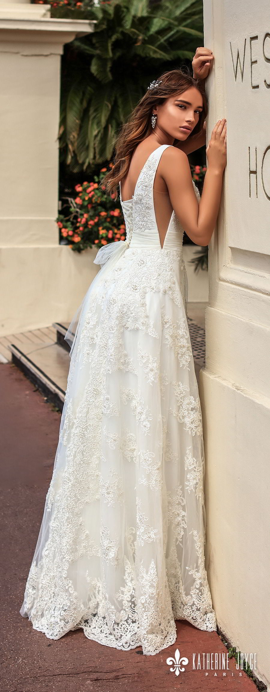 katherine joyce 2018 bridal sleeveless deep v neckline full embellishment side open romantic a  line wedding dress corset back sweep train (perla) bv